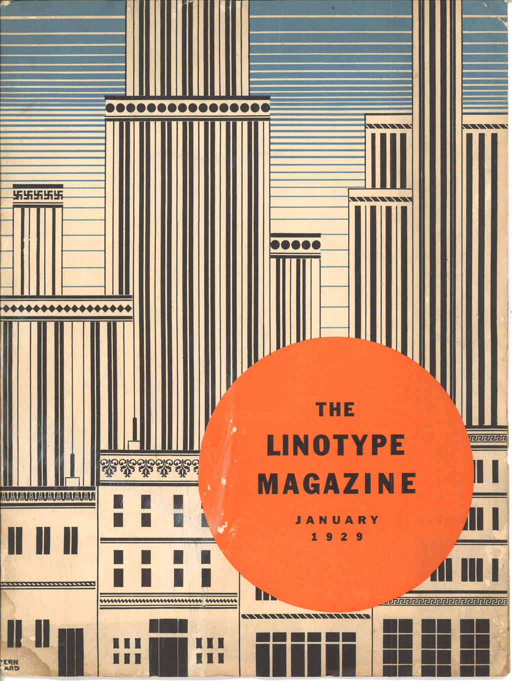 Cover of The Linotype Magazine (January 1929). Design by Lucian Bernhard.