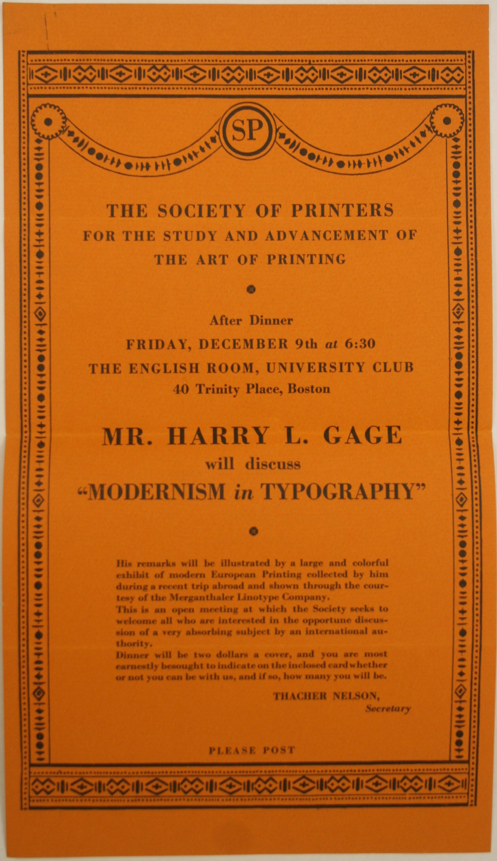 "Poster for ""Modernism in Typography"" talk for the Society of Printers by Harry L. Gage, 9 December 1927"