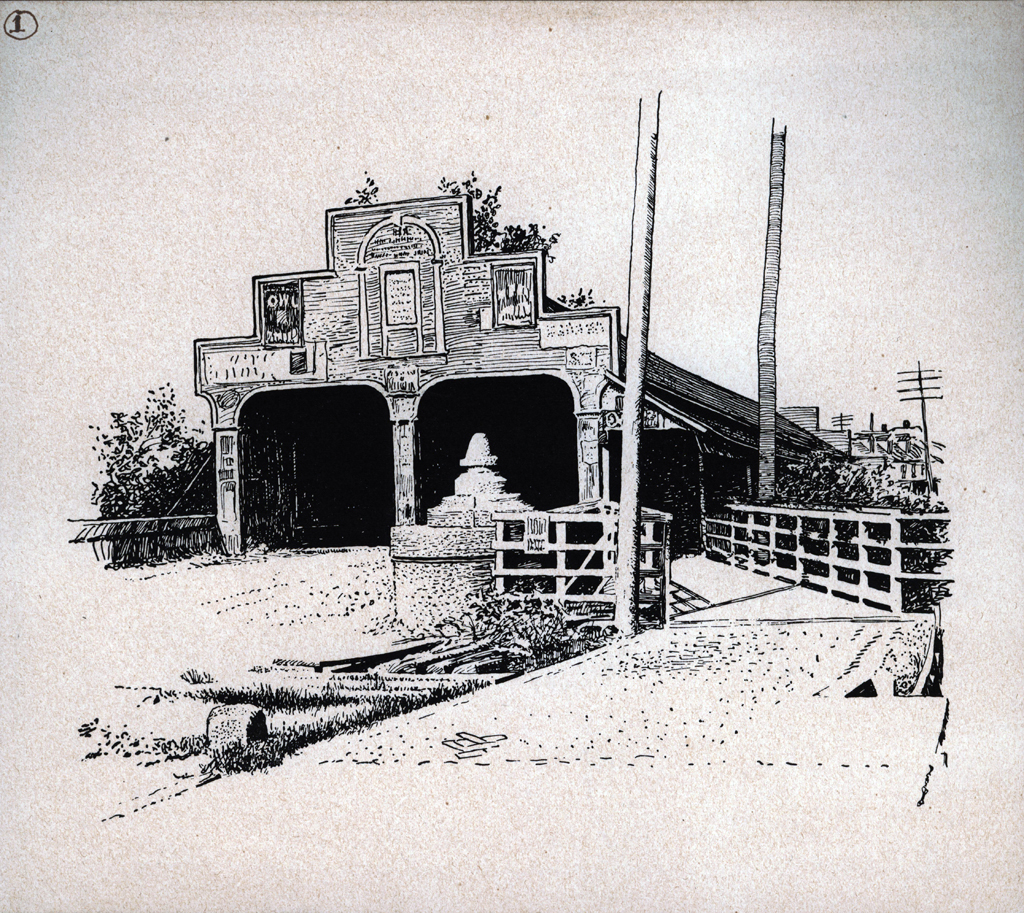 Old National Bridge. Print by W.A. Dwiggins (1903). Courtesy of the Finlay Room, Guernsey County Library.