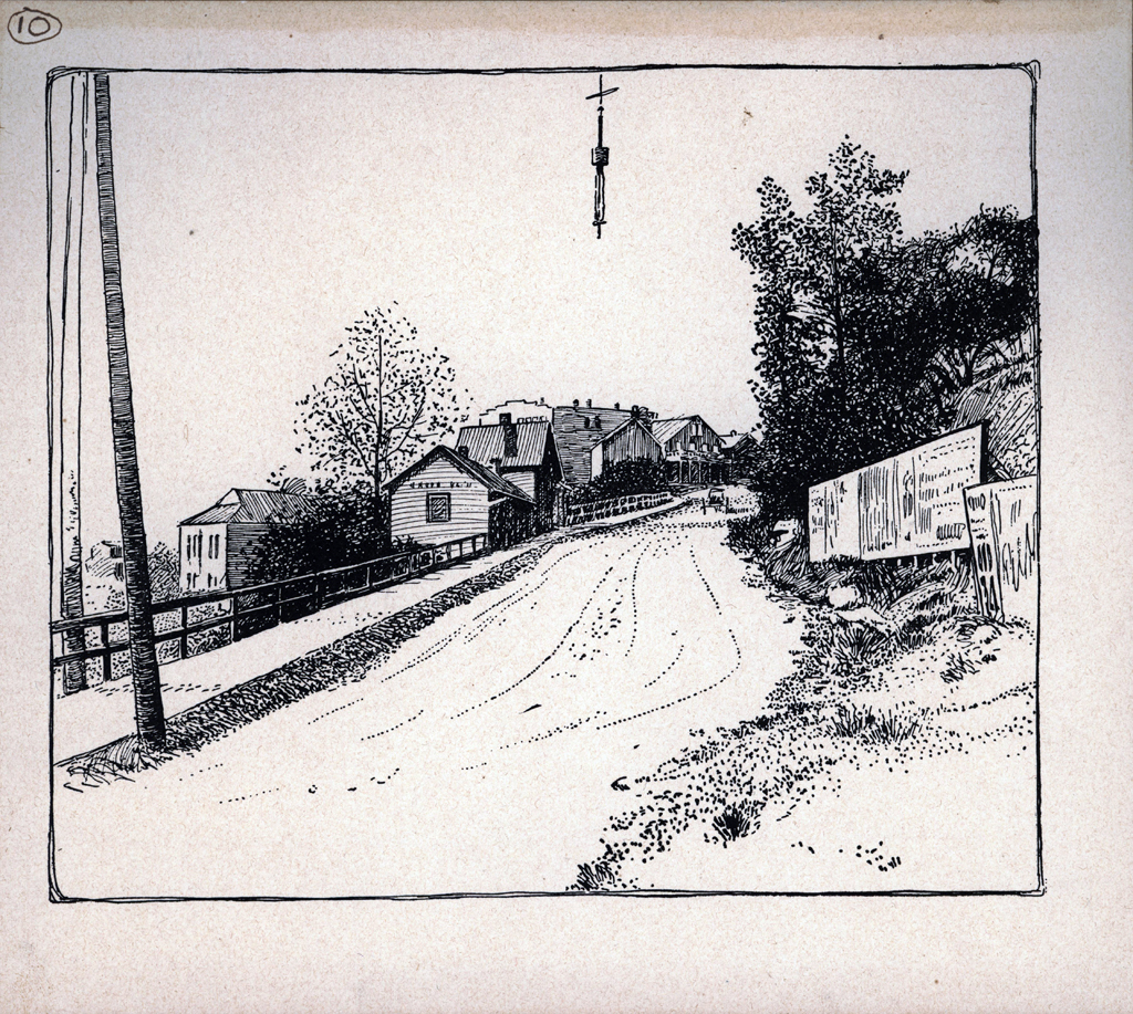 8th Street Hill. Print by W.A. Dwiggins (1903). Courtesy of the Finlay Room, Guernsey County Library.