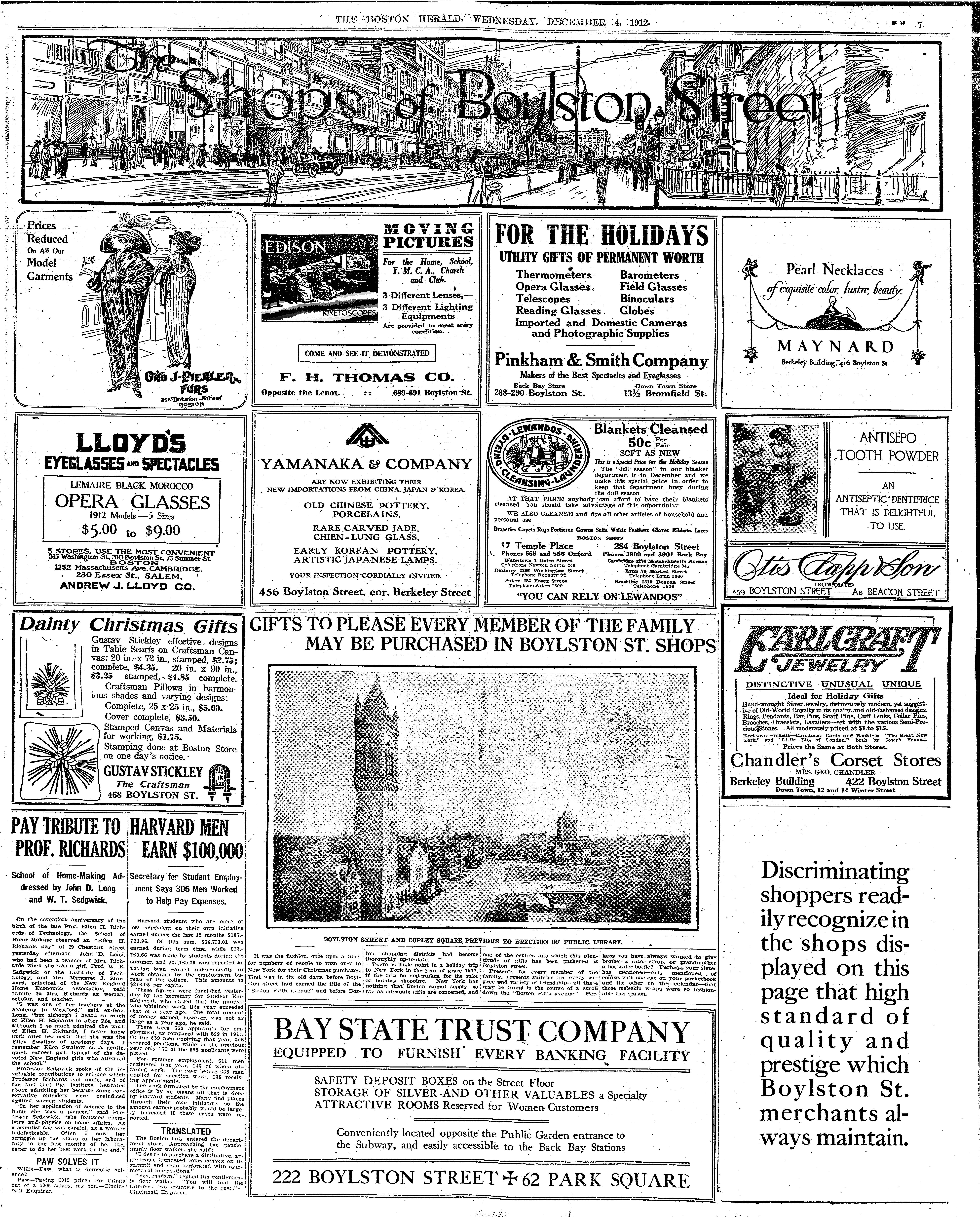 The Boston Herald (4 December 1912) with Pearls Necklace advertisement for Maynard by W.A. Dwiggins.