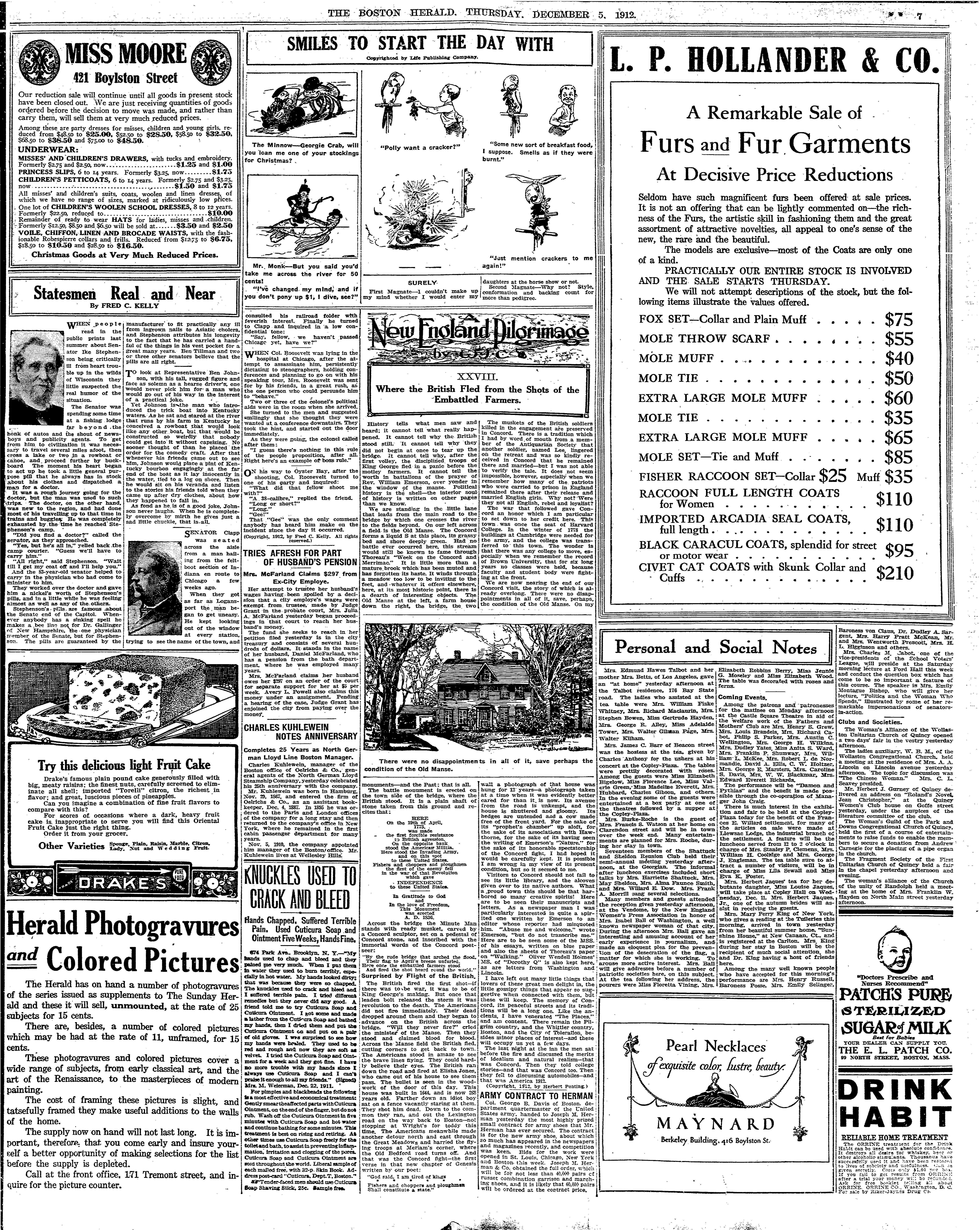 The Boston Herald (5 December 1912) with a Pearl Necklaces advertisement for Maynard by W.A. Dwiggins.