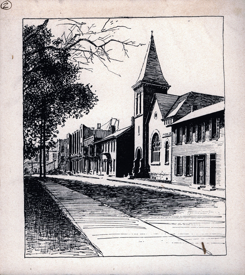 West Eighth Street. Print by W.A. Dwiggins (1903). Courtesy of the Finlay Room, Guernsey County Library.