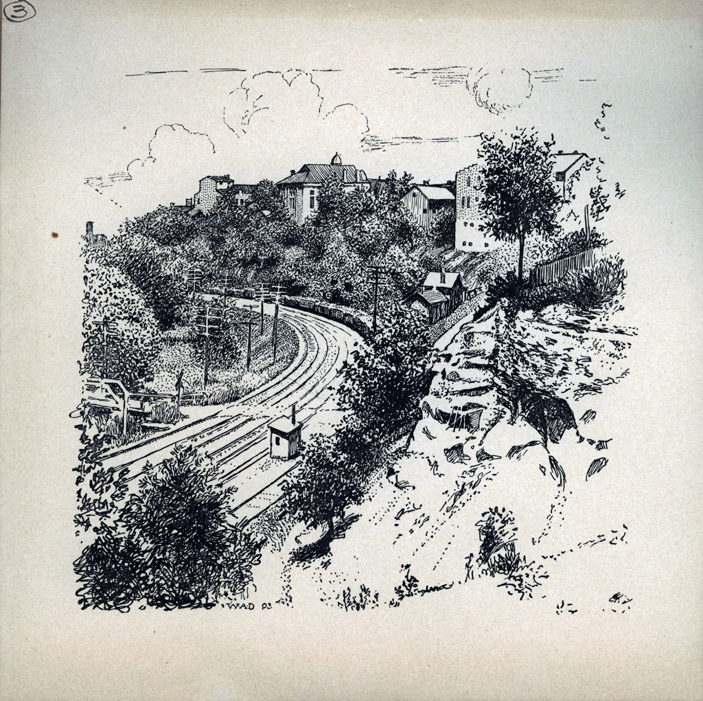 B&O Tracks. Print by W.A. Dwiggins (1903). Courtesy of the Finlay Room, Guernsey County Library.