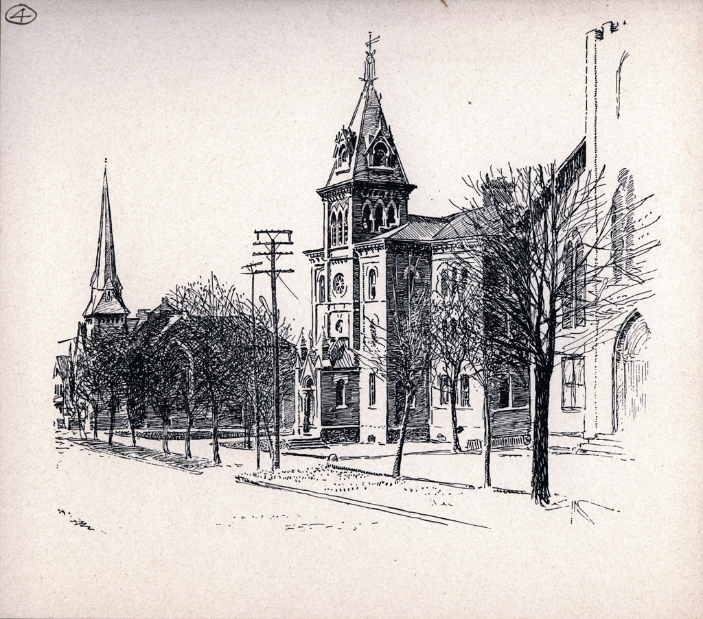 Central School. Print by W.A. Dwiggins (1903). Courtesy of the Finlay Room, Guernsey County Library.