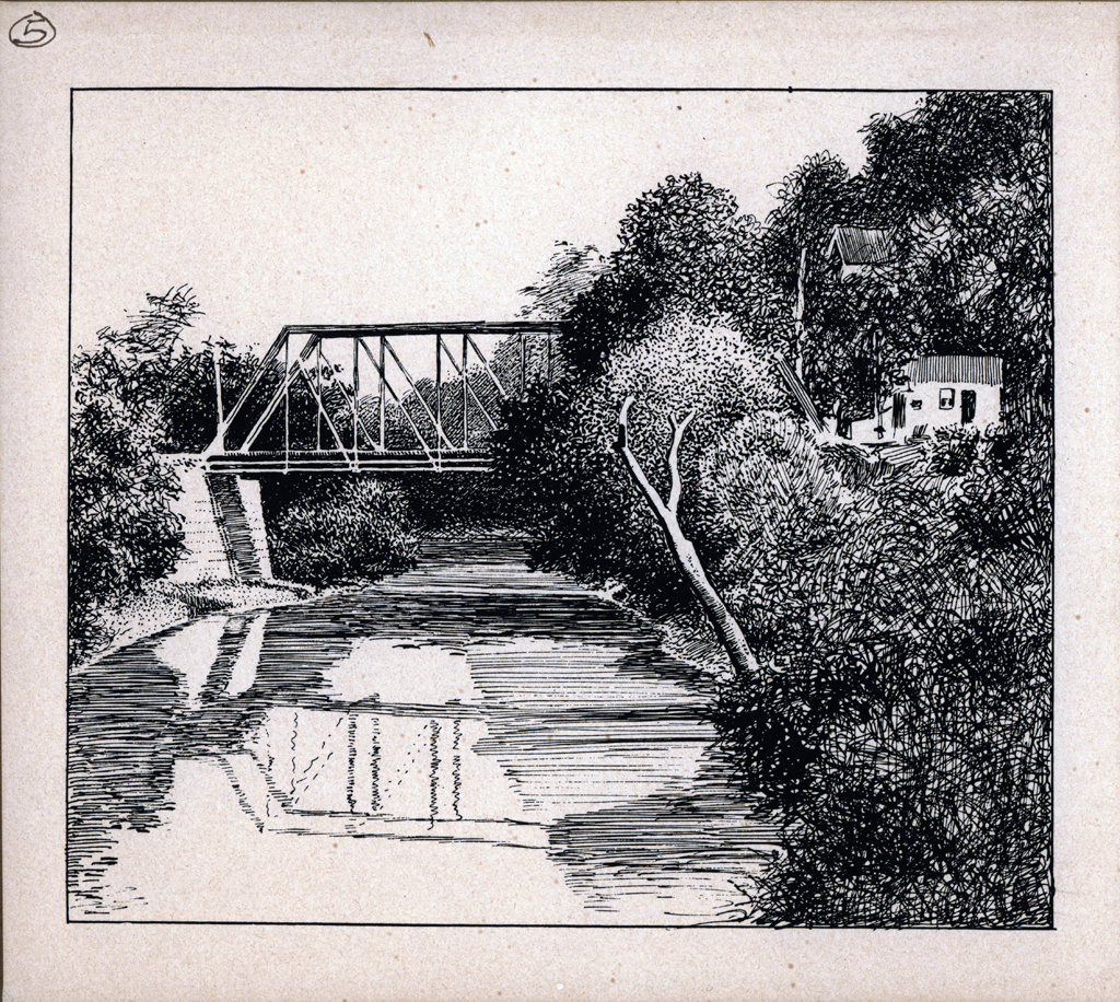 On Will's Creek. Print by W.A. Dwiggins (1903). Courtesy of the Finlay Room, Guernsey County Library.