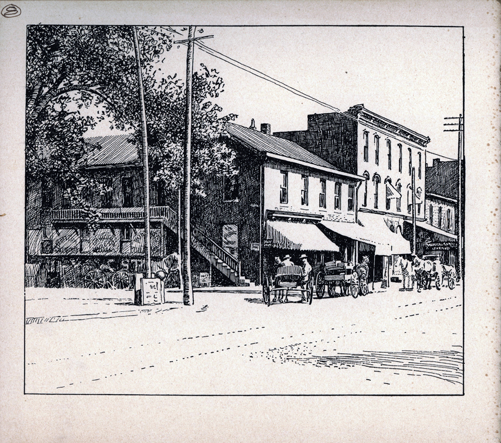Old Davis Corner. Print by W.A. Dwiggins (1903). Courtesy of the Finlay Room, Guernsey County Library.
