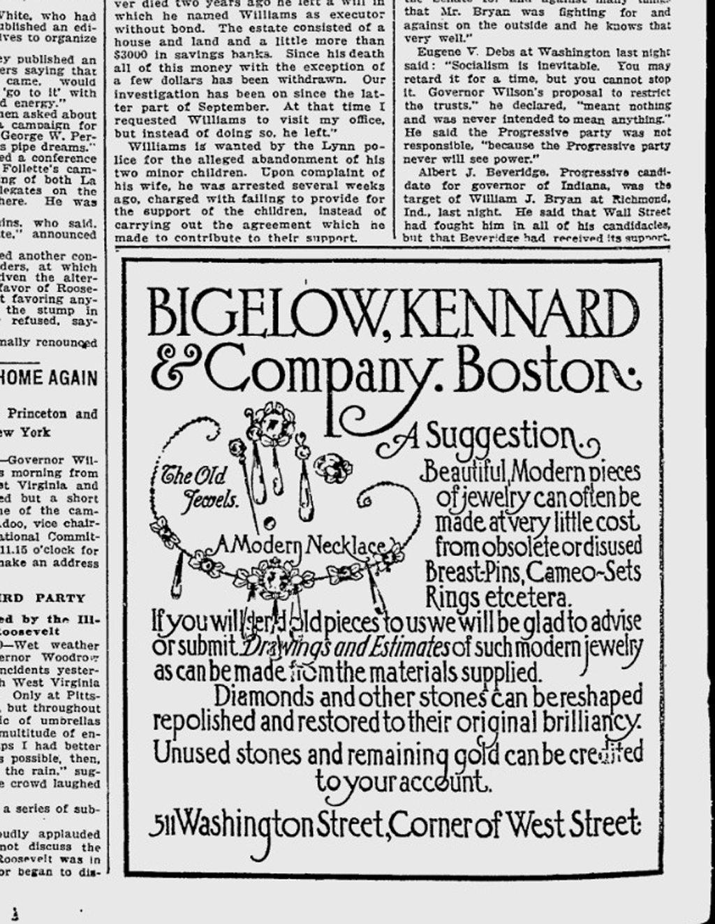 Advertisement for Bigelow, Kennard & Co. in the Boston Evening Transcript, October 12, 1912. Designer unknown.