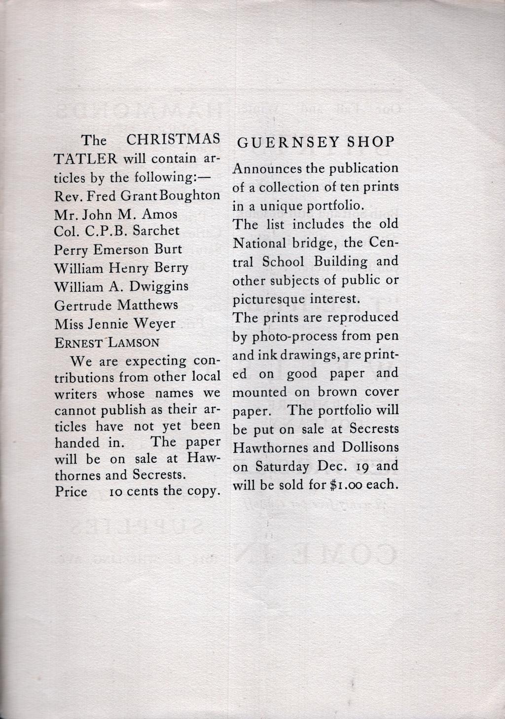 Advertisement for a collection of ten prints of views of Cambridge. The Tatler, vol. 1, no. 14 (December 18, 1903). Boston Public Library, 1974 W.A. Dwiggins Collection, Box 35, Folder 34.
