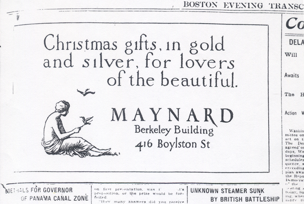 """""""Christmas gifts…"""" advertisement for Maynard & Co. in the Boston Evening Transcript, December 10, 1912. Illustration and lettering by W.A. Dwiggins."""