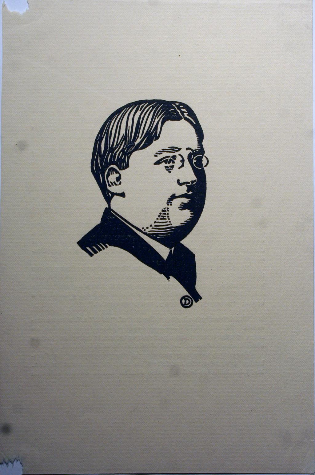 Woodcut portrait of Eugene Field by W.A. Dwiggins.