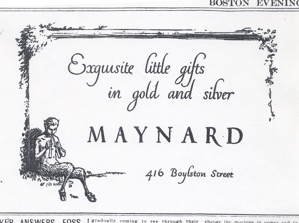 """""""Exquisite little gifts in gold and silver"""" advertisement for Maynard & Co., December 6, 1912."""
