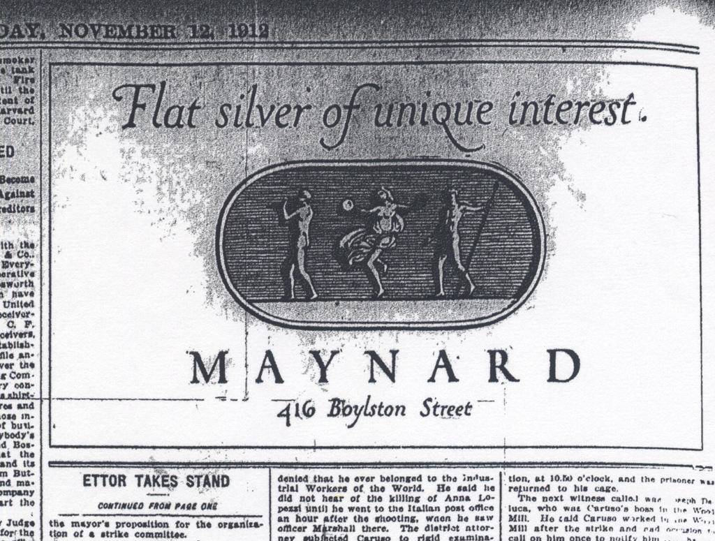 """""""Flat silver of unique interest"""" advertisement for Maynard & Co., November 12, 1912. Illustration and lettering by W.A. Dwiggins."""