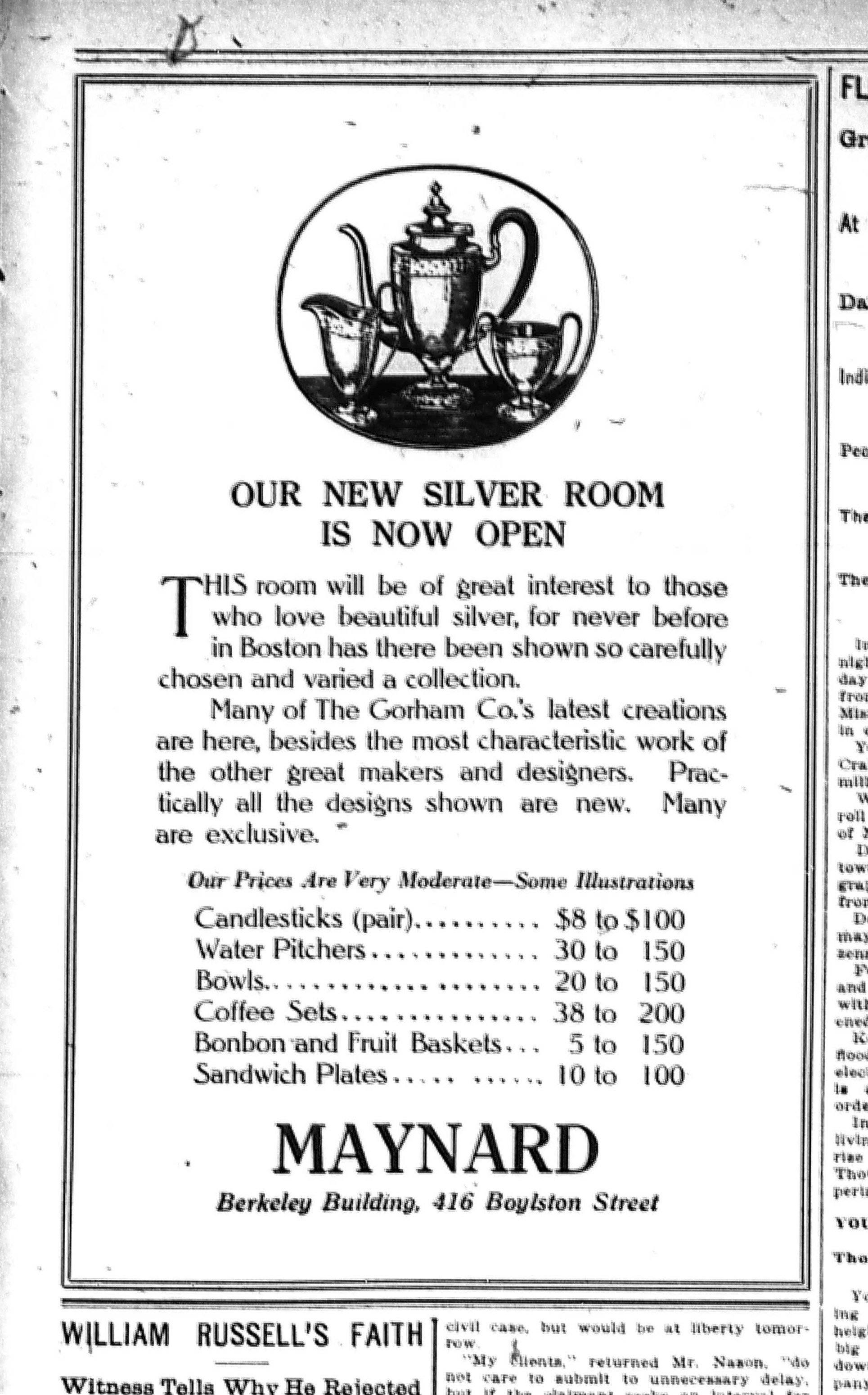 """""""Our New Silver Room Is Now Open"""" advertisement by Maynard & Co. in the Boston Evening Transcript, March 25, 1913. Illustration by W.A. Dwiggins?"""