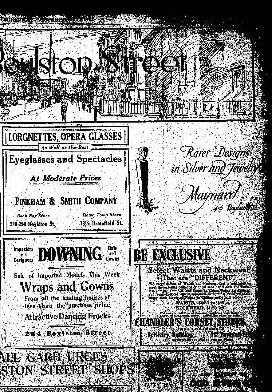 """Rarer advertisement for Maynard in the Boston Evening Transcript, October 30, 1912."