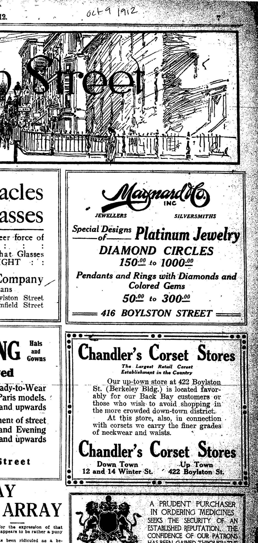 Maynard & Co. advertisement in the Boston Evening Transcript, October 9, 1912.