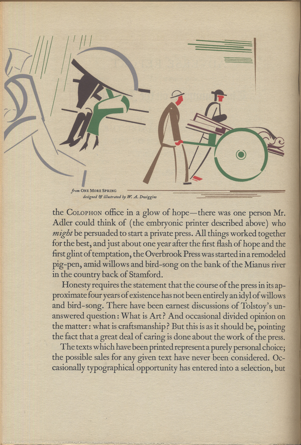 Overbrook Press page from insert in The Annual of Bookmaking. Typography probably by Margaret Evans.