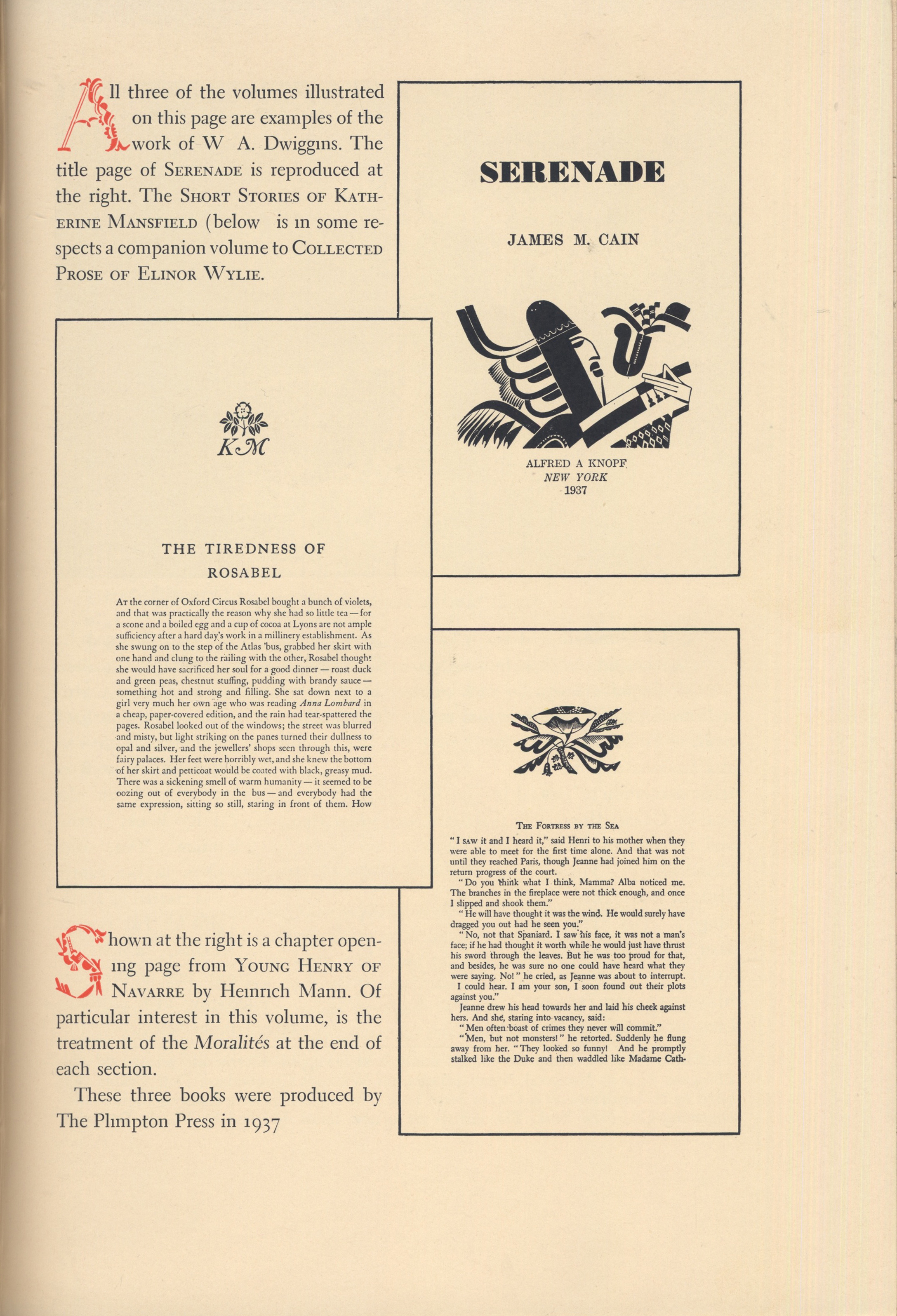 """Opening page of insert """"Some Borzoi Books Published 1927–1937 by Alfred A. Knopf"""" in The Annual of Bookmaking. Design probably by Sidney R. Jacobs. Borzoi by W.A. Dwiggins."""