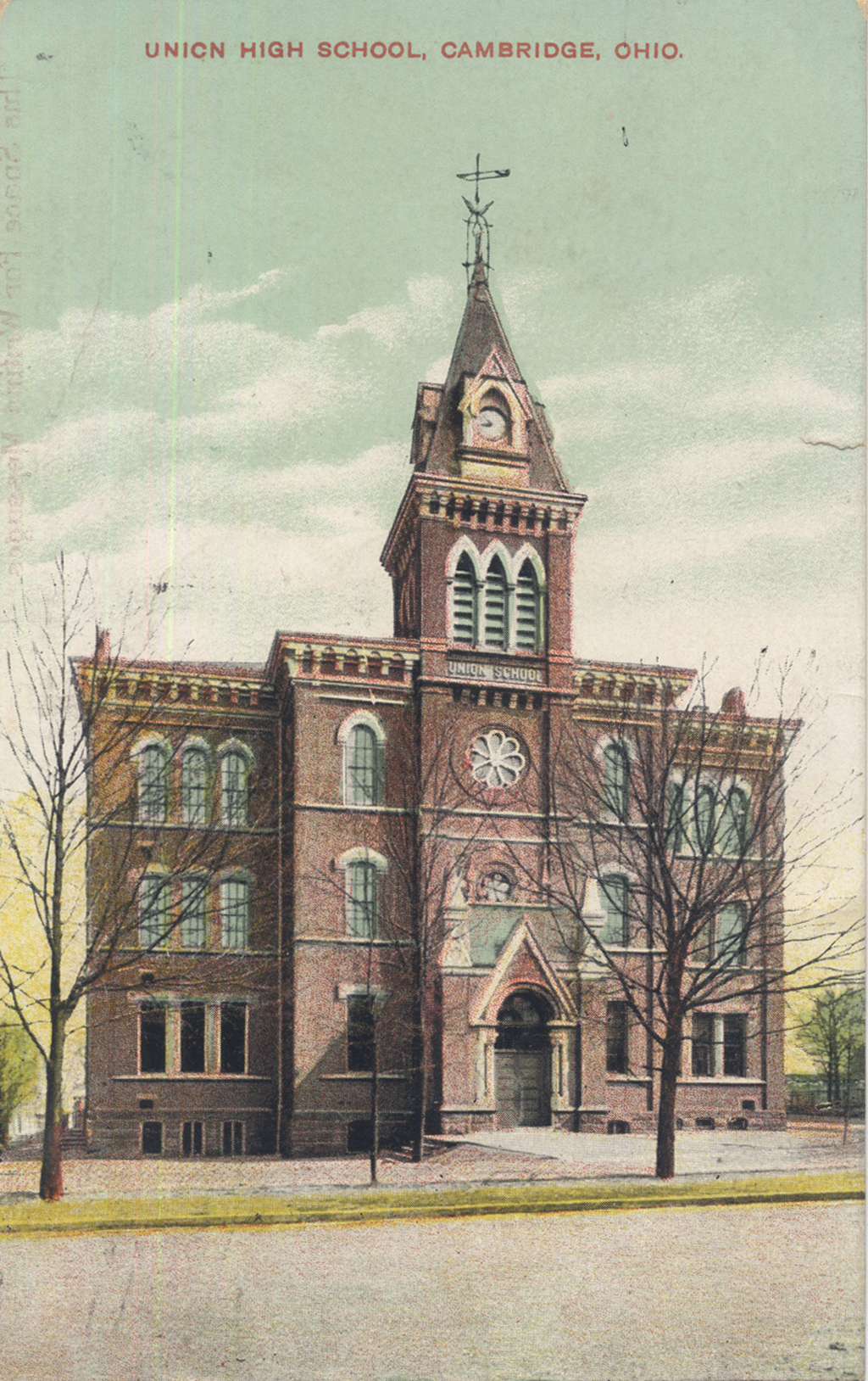 Union High School (later the  Central School and the Cambridge High School). Undated postcard.