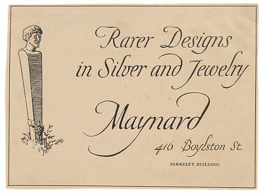 """""""Rarer Designs in Silver and Jewelry."""" Newspaper advertisement for Maynard Co. Design by W.A. Dwiggins."""