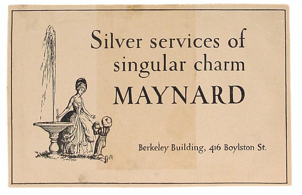 """""""Singular Services of Singular Charm."""" Newspaper advertisement for Maynard Co. Design by W.A. Dwiggins."""