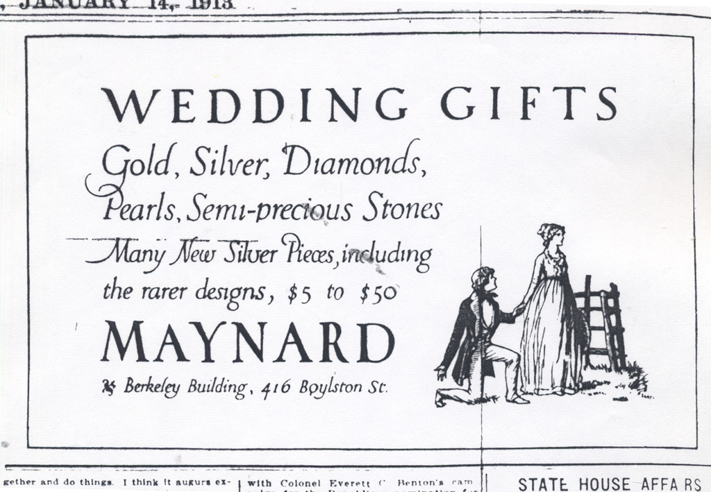 """""""Wedding Gifts"""" advertisement for Maynard & Co. in the Boston Evening Transcript, January 14, 1913. Illustration and lettering by W.A. Dwiggins."""