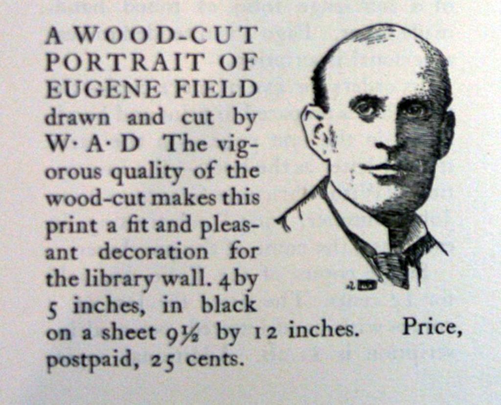A wood-cut Portrait of Eugene Field by W.A. Dwiggins (c.1905).