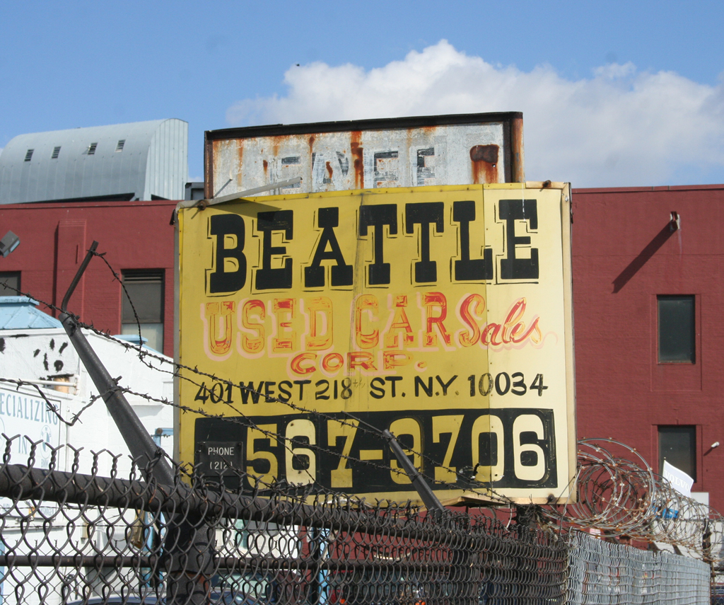Beattie Used Car Sales Corp., Inwood neighborhood, Manhattan, New York.