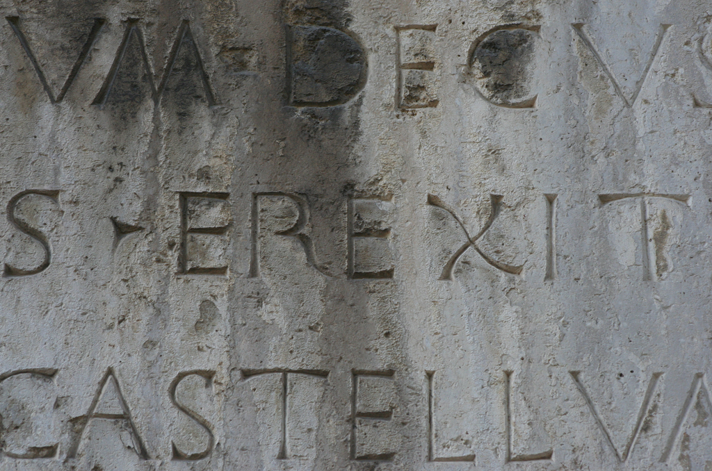 Detail of inscription (1446) on the Castello Sismondo, Rimini.