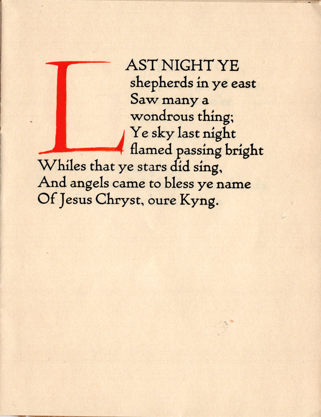 Page from Chrystmasse of Olde by Eugene Field. Typography and decoration by W.A. Dwiggins. Printed at the Village Press, December 1904. Boston Public Library, 1974 Dwiggins Collection, Box 37, Folder 20.