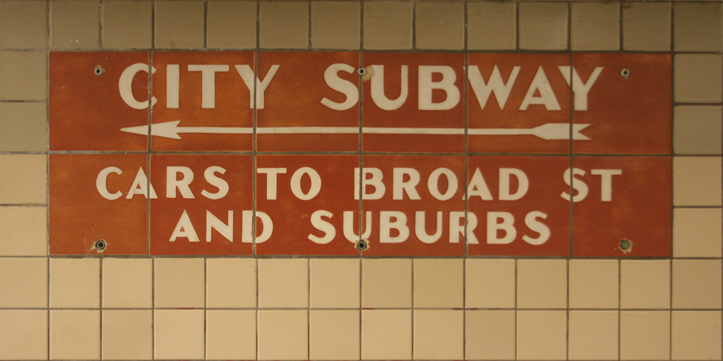 Newark City Subway terra-cotta signage (c.1938). Newark, New Jersey.
