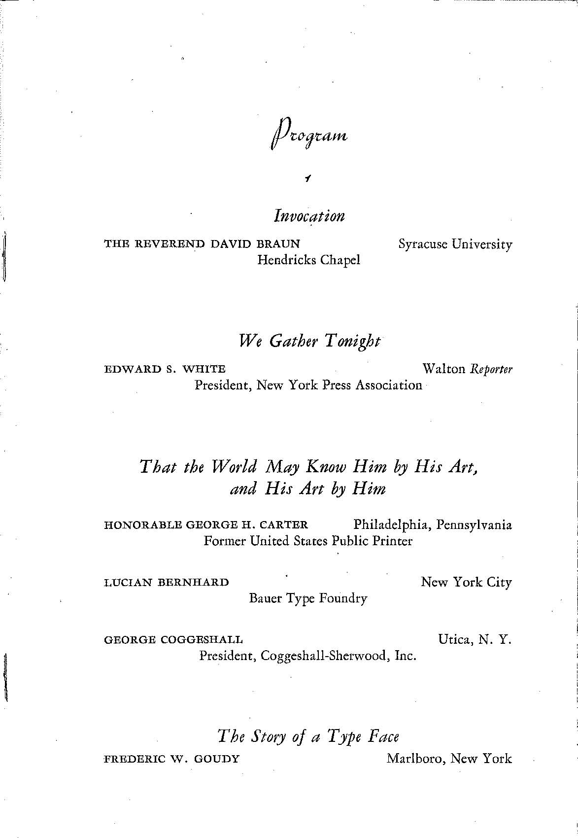 Program for dinner in honor of Frederic W. Goudy, September 1936.