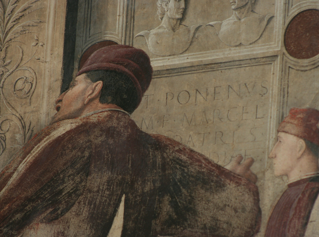 Detail of fresco by Andrea Mantegna. Church of the Eremitani, Padua. Photograph by Paul Shaw, 2010.