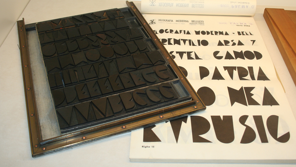 Etna, an Art Deco wood type from Xlografia.