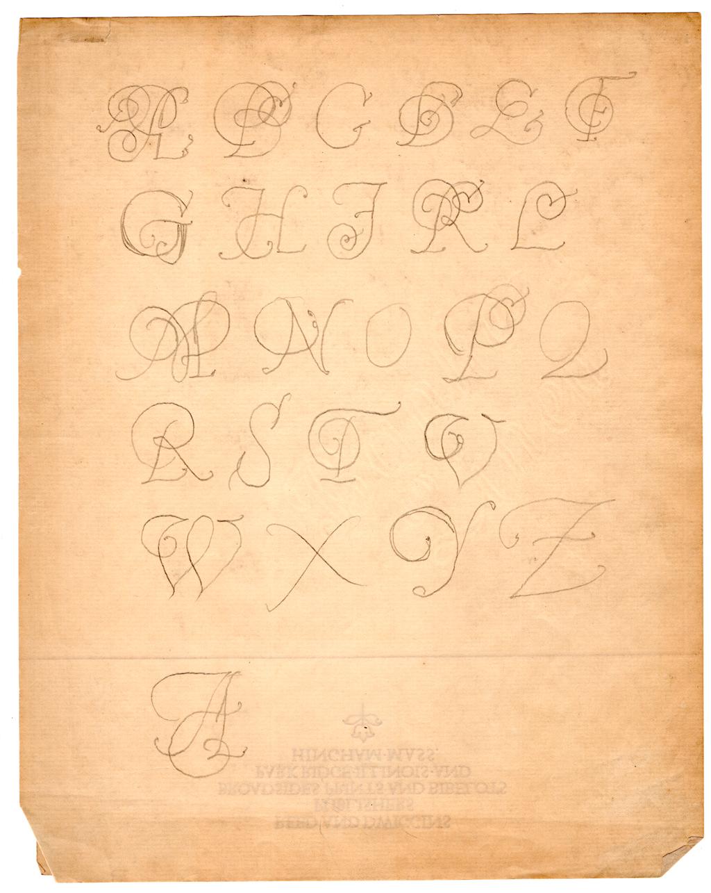 Pencil sketch of swash italic capitals by W.A. Dwiggins (c.1906/1907).
