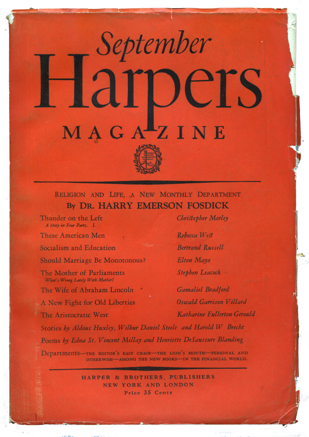 Cover of Harpers Magazine (September 1925). Design by W.A. Dwiggins.