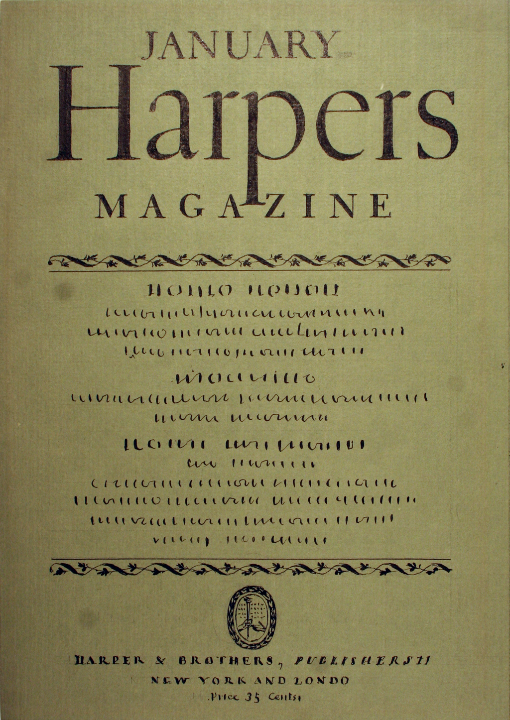 Comp for cover of Harpers Magazine by W.A. Dwiggins (1925). Boston Public Library, 2001 Dwiggins Collection, Box 4, Folder 24.