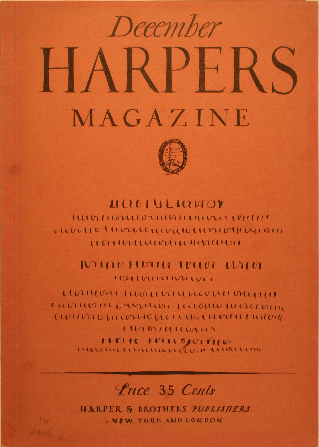 Comp for cover of Harpers Magazine by W.A. Dwiggins (1925). Boston Public Library, 2011 Dwiggins Collection, Box 4, Folder 24.