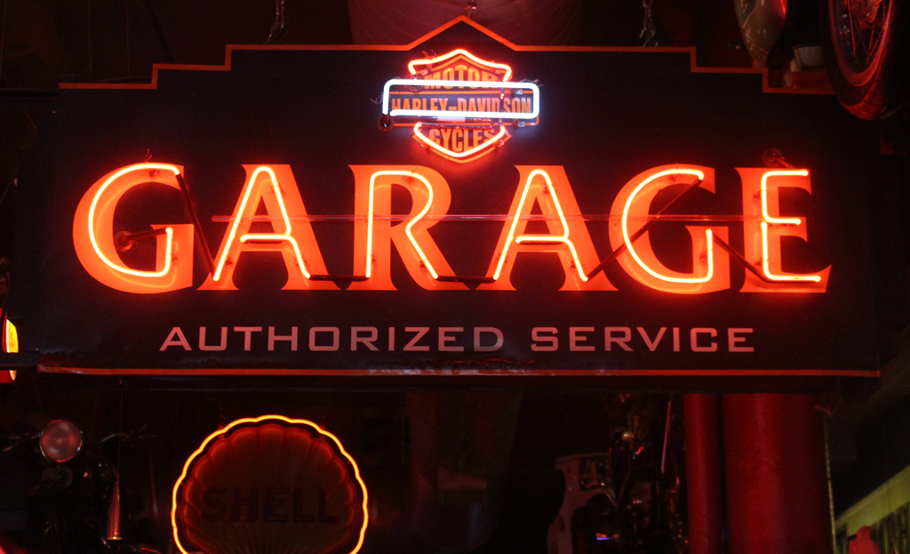 Neon garage sign inside Kelly's Olympian bar, Portland.