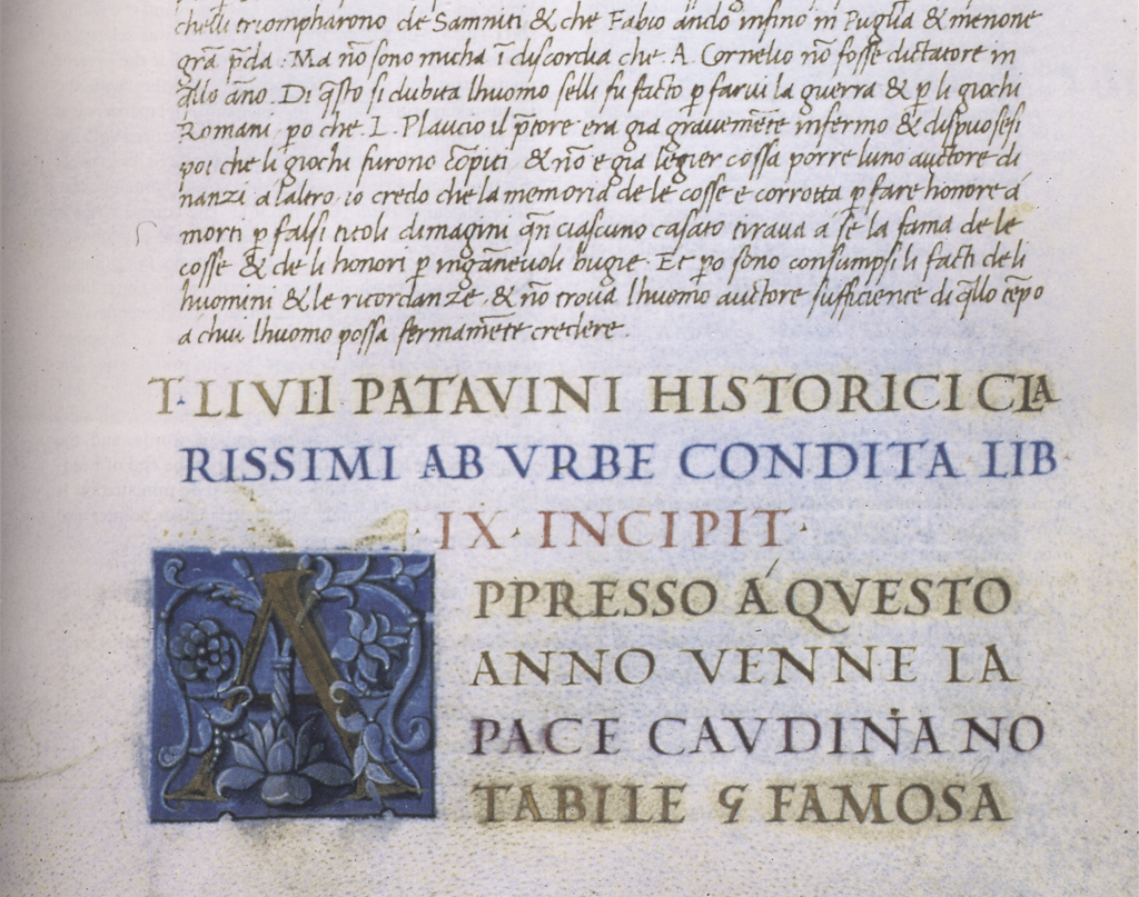 Detail of page from Livy (Ms. J.II.5, BIblioteca nazionale e universitaria di Torino). Calligraphy by Bartolomeo Sanvito.