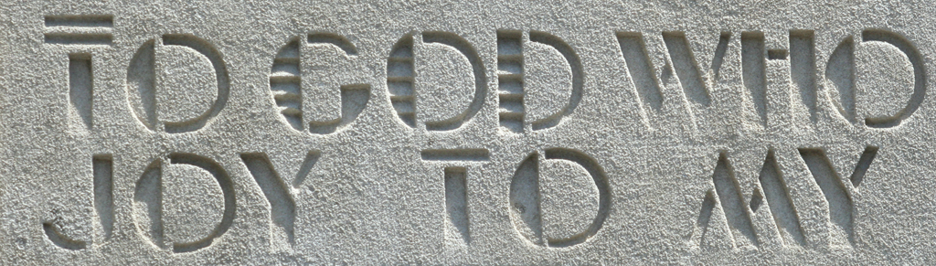Detail of inscription on facade of Most Precious Blood Roman Catholic Church, Astoria, Queens, New York.