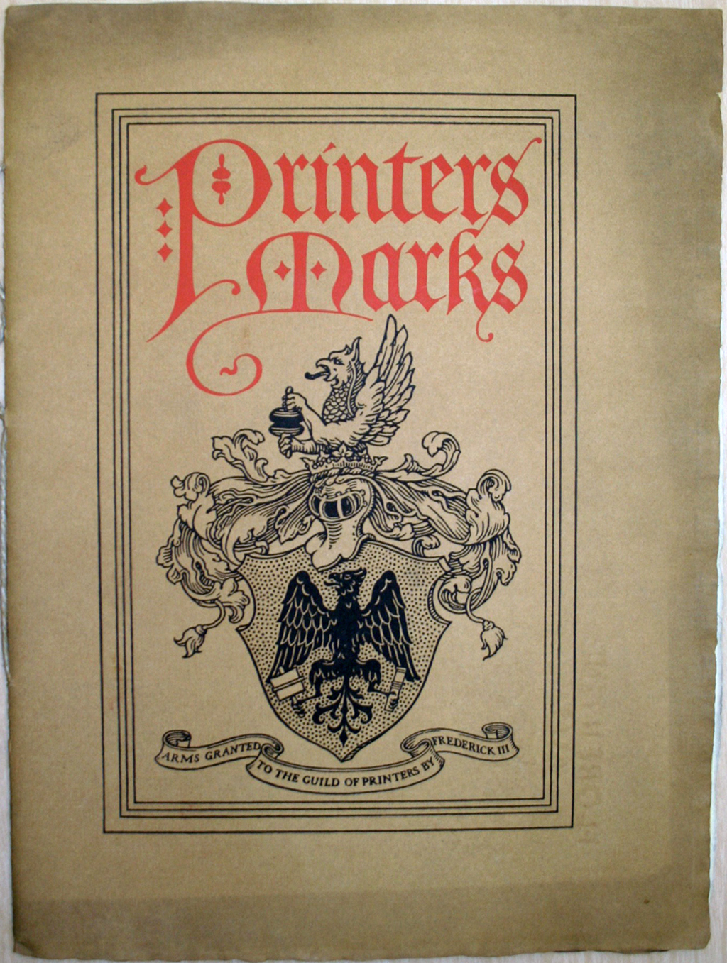 Printers Marks booklet cover. Lettering and design by Frederic W. Goudy.
