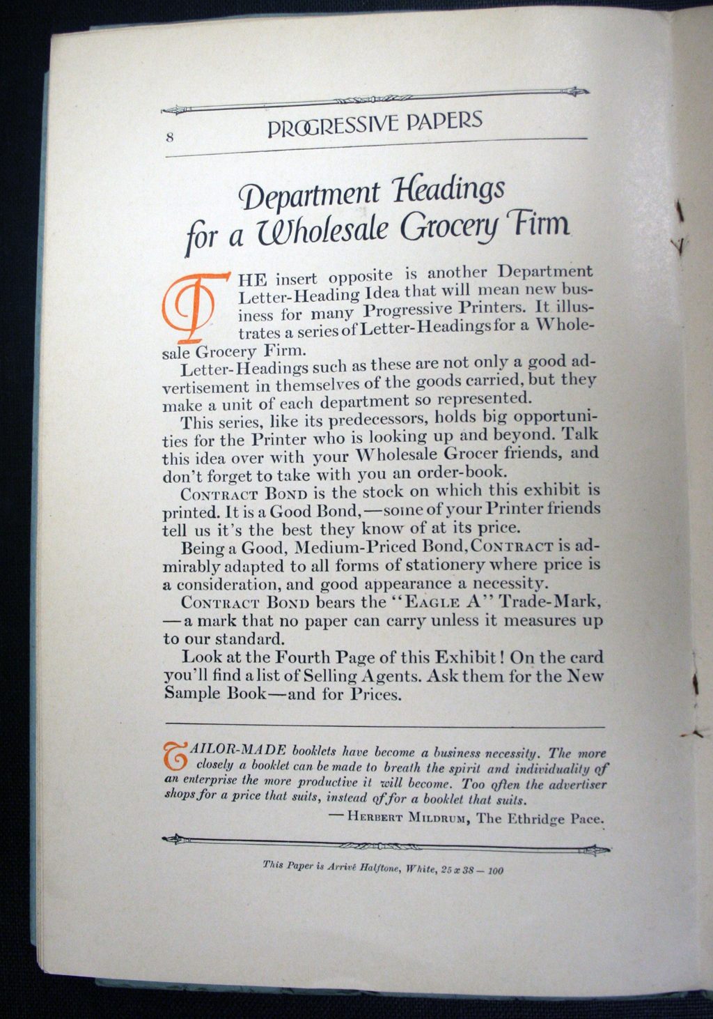 Progressive Papers (January–February 1914), p. 8. Initial T by W.A. Dwiggins.