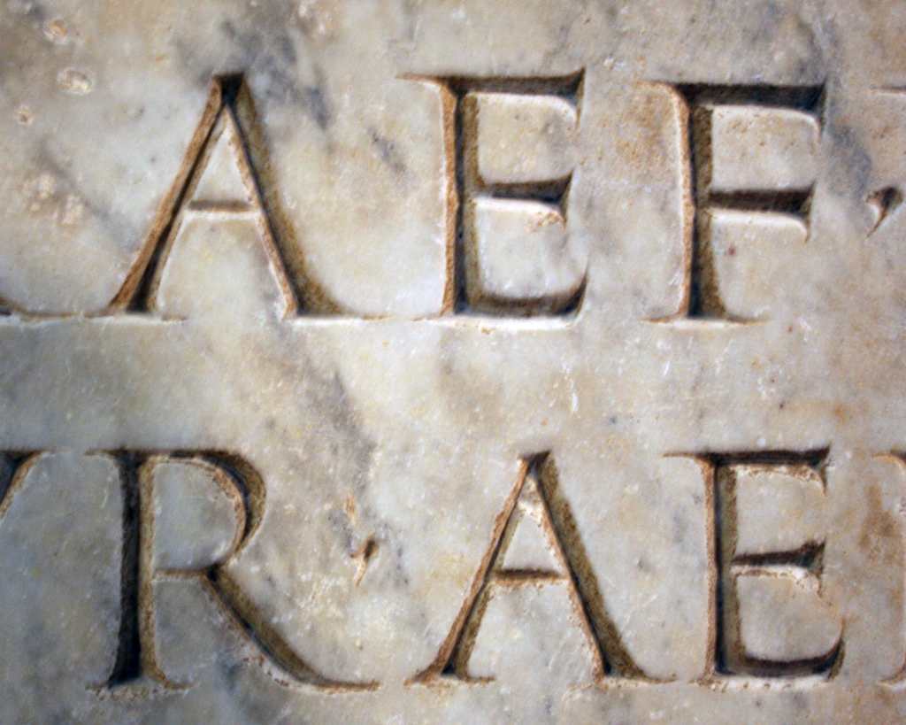 Detail of a Roman inscription in the Museo Archeologico, Padova. Photograph by Paul Shaw, 2013.