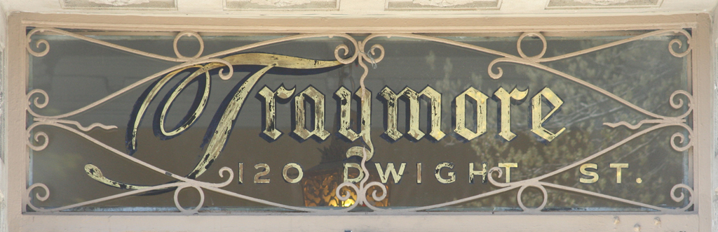 Transom sign for The Traymore (1916), New Haven.