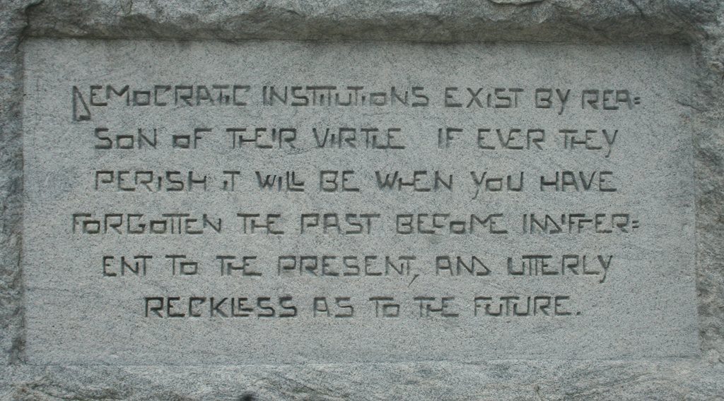 Detail of inscription at base of statue (1932) of Tom Watson, formerly on the grounds of the Georgia State Capitol, Atlanta.