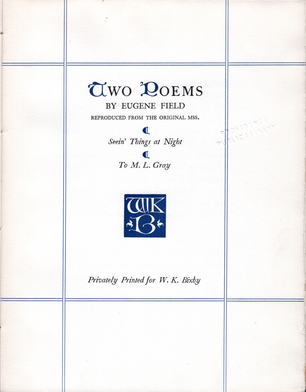 Title page of Two Poems by Eugene Field (Boston: The Merrymount Press, 1922). Monogram by W.A. Dwiggins.