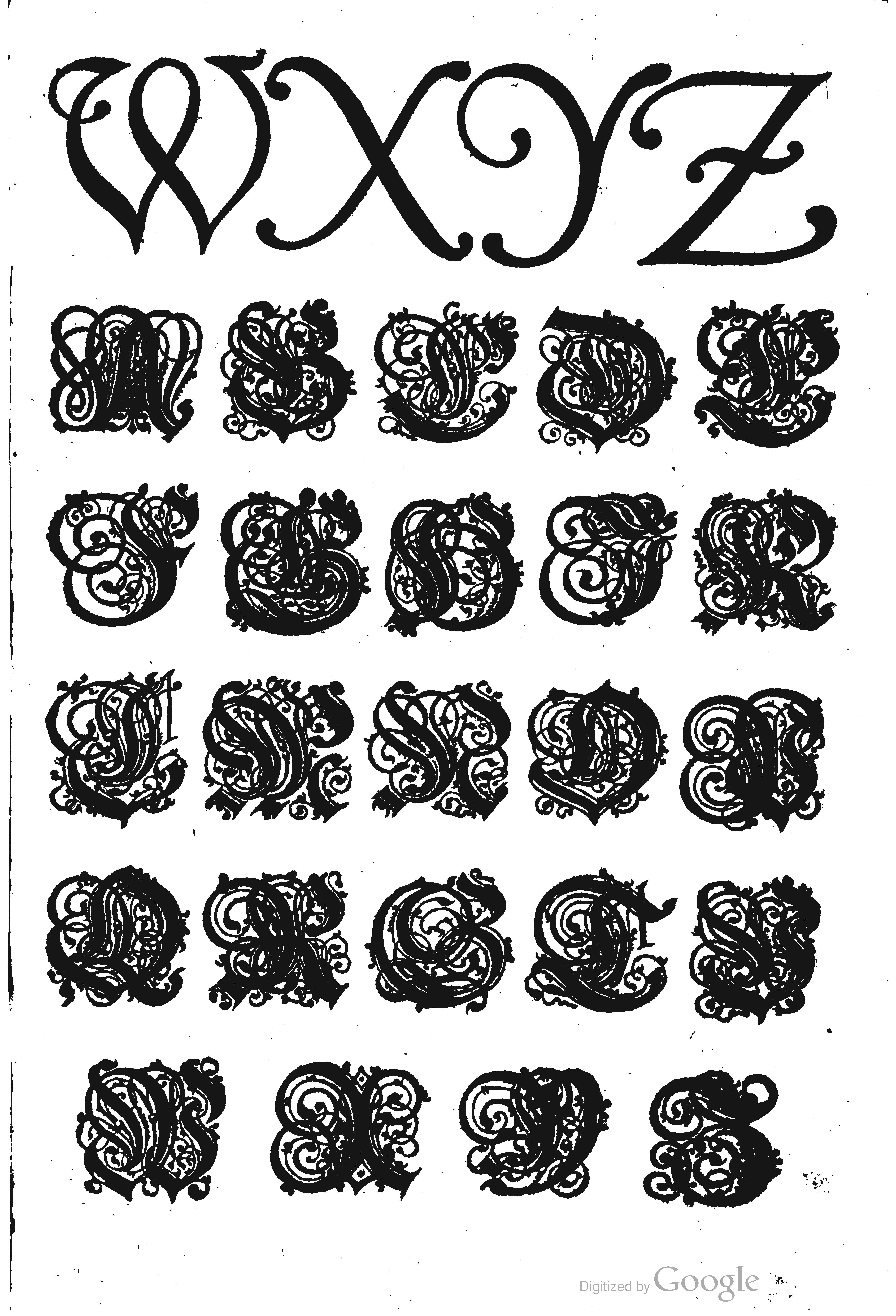 Swash italic capitals by Paulus Franck (1601).