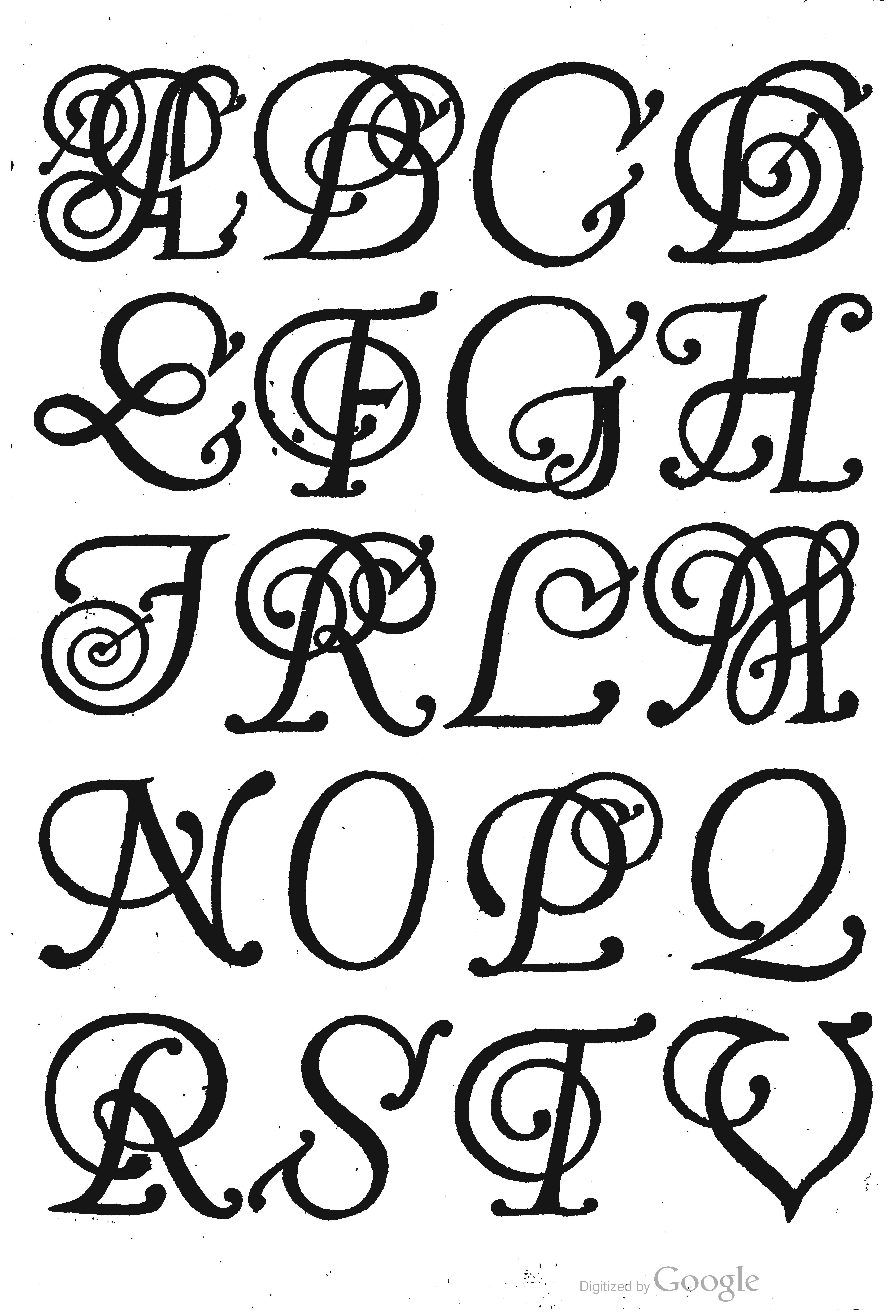 Swash italic apirla vy Pulus Franck (1601).