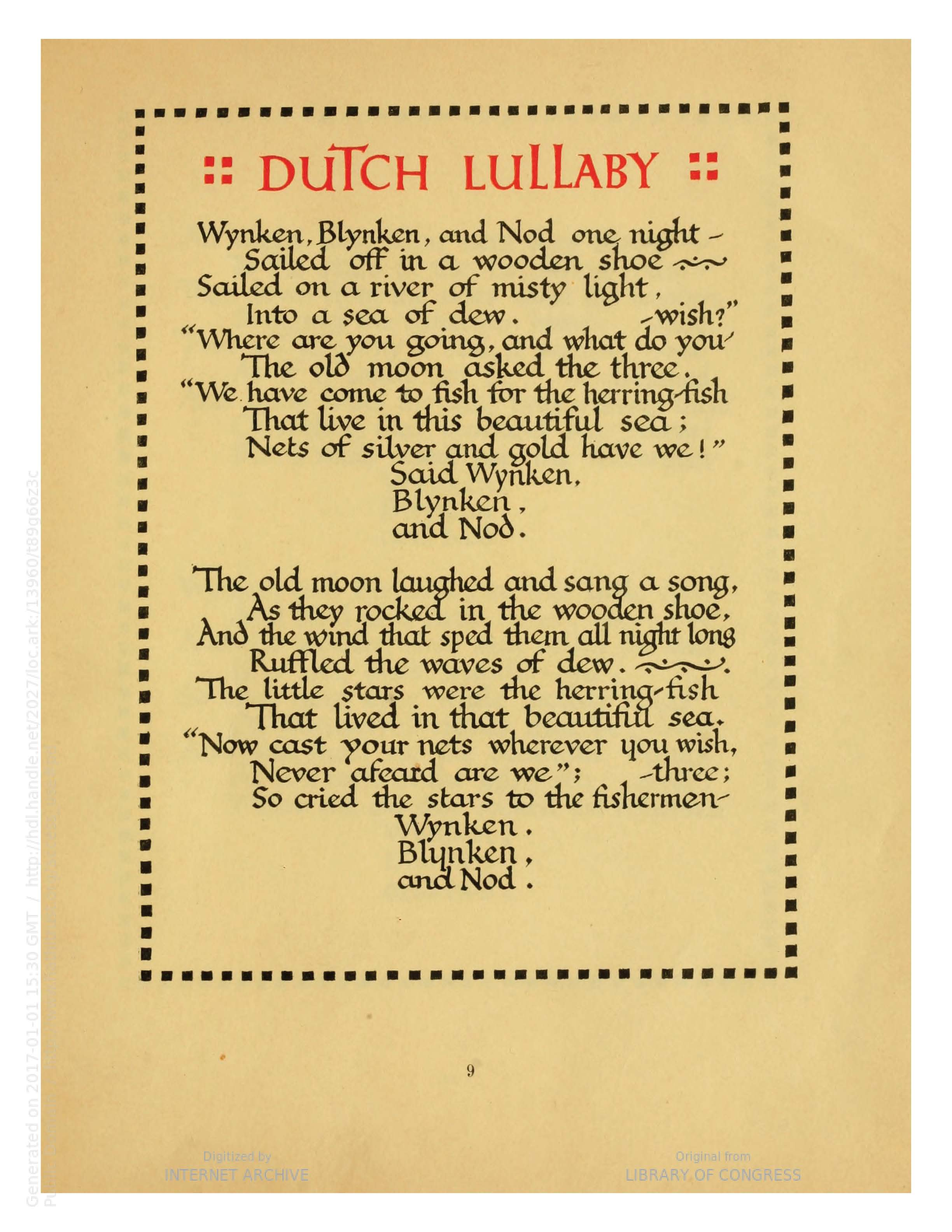 """Dutch Lullaby"" from Cradle Lullabies by Eugene Field (Chicago: The Canterbury Co., 1909). Calligraphy possibly by W.A. Dwiggins."